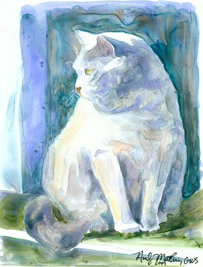 Grey Cat in Window- watercolor on Yupo