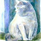 Grey Cat in Window- watercolor on Yupo