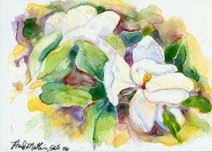 Magnolia- watercolor on Yupo