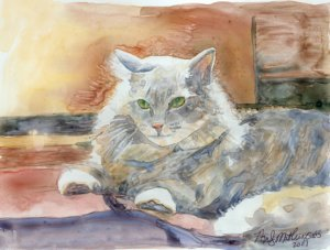 Grey Tabby Cat on Yupo