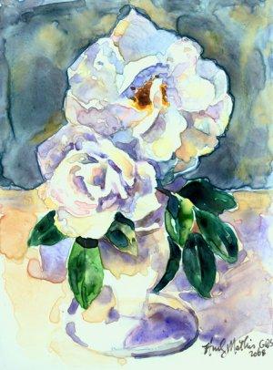 White Roses Still Life on Yupo-original painting