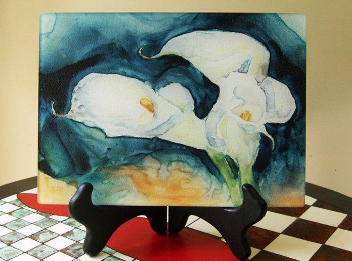 Calla Lilies Glass Cutting Board