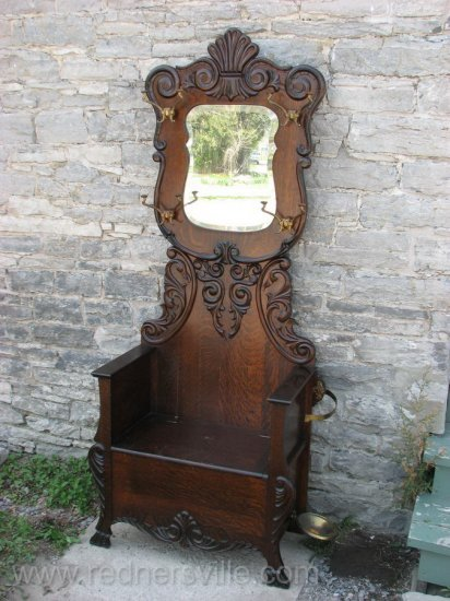 Antique Mirrored Quartersawn Oak Hall Stand Tree Bench