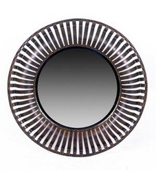 Round Iron Mirror - Beveled Glass