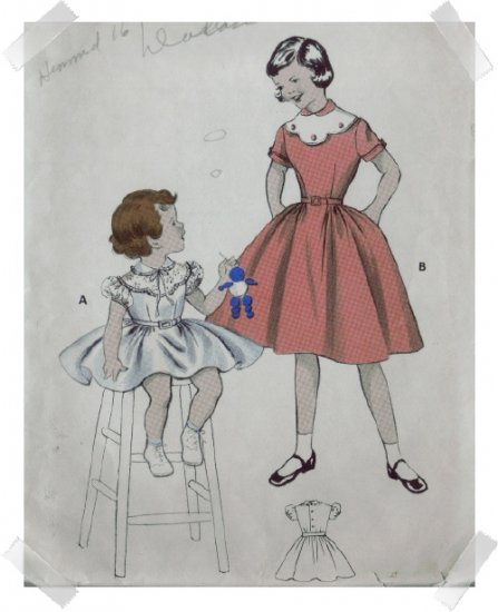 Butterick #7185 Childs Sz 8 Lace Yoke Dress Pattern
