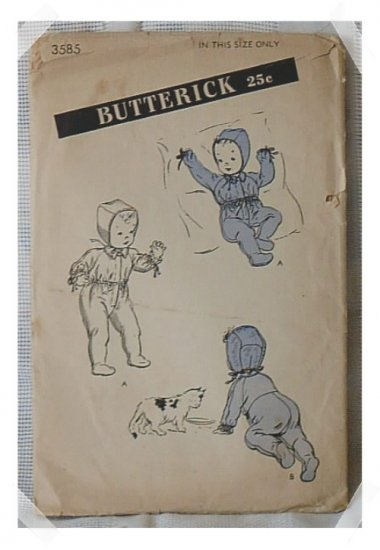 Butterick INFANT CARRIAGE SUIT & CAP Pattern c. 1940