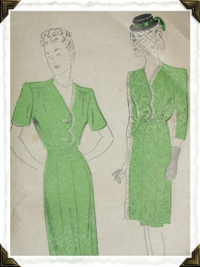 New York #822 Vintage Woman's Dress Pattern Sz 40 c.1920