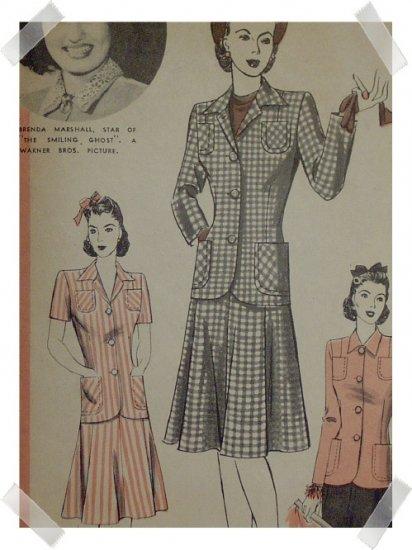 Hollywood #721 Brenda Marshall Vintage Misses / Ladies Skirt/Jacket Pattern