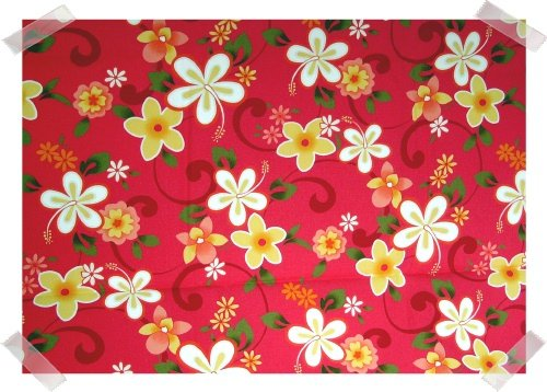 Bright Hot Pink with Yellow Floral Hawaiian Fabric 1 1/2 yds