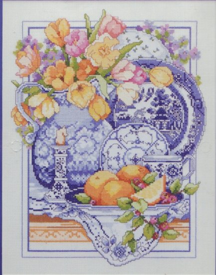 Bucilla Counted Cross Stitch Kit ~ Willowware / Blue Willow
