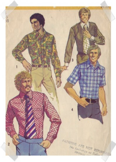 Simplicity #5325 Mens Shirt Pattern Sz 38