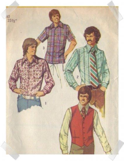 Simplicity #5047 Mens Vest & Shirt Pattern Sz 40