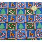 Xmas Cotton Fabric ~ Blue & Green Rudolf & Candy Canes