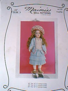 "Maimie Doll Patterns Yvette 19"" Victorian Dress Pattern"