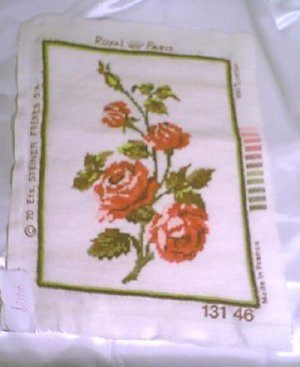 Prestitched Needlepoint Panel ~ American Beauty Roses