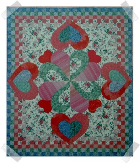 Lemon Publications Full Size Album Quilt Pattern ~ HEARTS ABLOOM