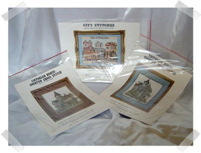 Cross Stitch Pattern Pamphlets ~ Trio of Victorian Houses