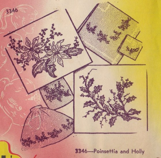 Aunt Marthas Iron Transfer Pattern  - Poinsettia & Holly