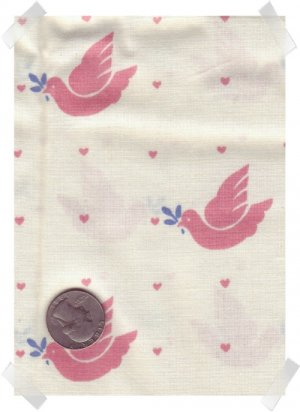 Pink Doves & Hearts Quilting/Craft Fabric 1 yd