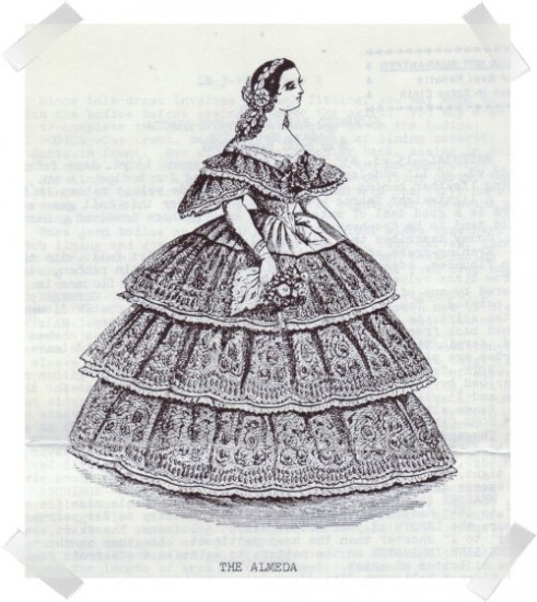 Heidi Marsh Pattern Godey Reproduction Pattern ~ The Alameda 1859 FLounced Ball Dress