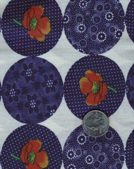 Quilting / Sewing Cotton Blend Fabric ~  Navy Orange Poppies 13/4 yd