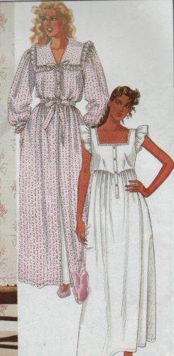 McCalls Pattern #9437 ~ Laura Ashley Nightgown & /Robe Sz Small