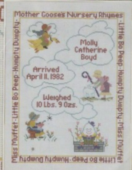 Needle Treasures Cross Stitch Kit ~ Nursery Rhyme Birth Sampler