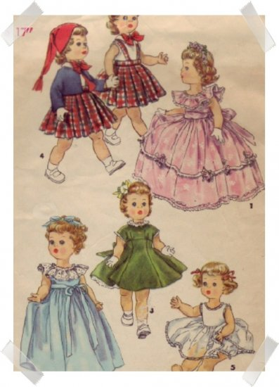 "Simplicity 17"" Posie / Saucy Walker Doll Wardrobe Pattern"