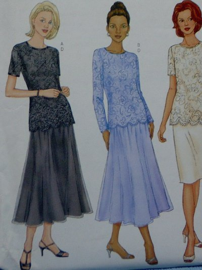 Butterick #6929 Woman's Lace Top & Skirt Pattern ~ Size 8 - 10 - 12