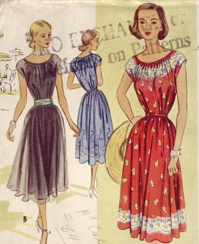 McCall #8507 Gathered Neck Dress Vintage Pattern ~ Sz 12 - UNCUT