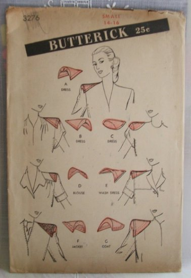 Vintage Butterick #3276 Assorted Shoulder Pads Pattern ~ Size Small