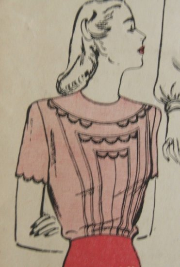 Terrific Vintage Butterick #3375 Hand Detailed Blouse Pattern ~  Sz 14