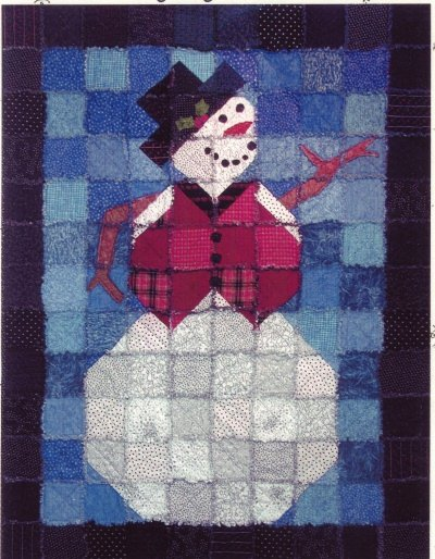 Quilt Pattern Frosty The Rag Edge Snowman Christmas