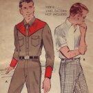 Authentic Vintage Butterick #9611 Mens Western Wear c.1950