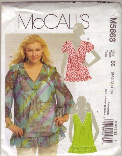 McCalls M5663 Womans Pullover Top Sz 8-10-12-14-16