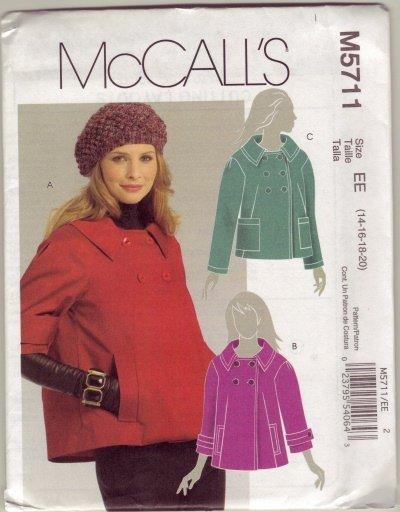 McCalls M5711 Womans Jacket Sz 14-16-18-20