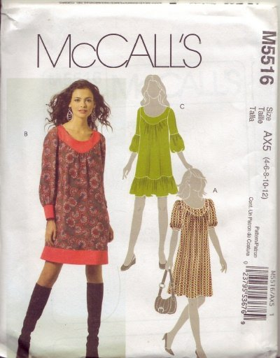 McCalls M5516 Womans Pullover Dress Sz 4-6-8-10-12-14