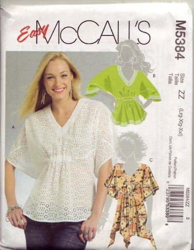 McCalls 5384 Womans Regular and Plus Size Pull Over Top Sz lg -  xl -  2x