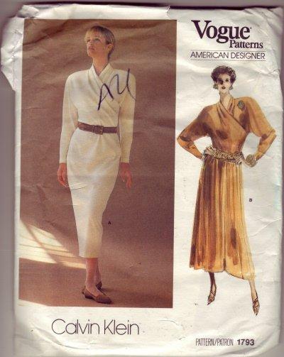 Vogue #1793 Designer Pattern Calvin Klein Wrap Top Shirt Waist Dress Size 16