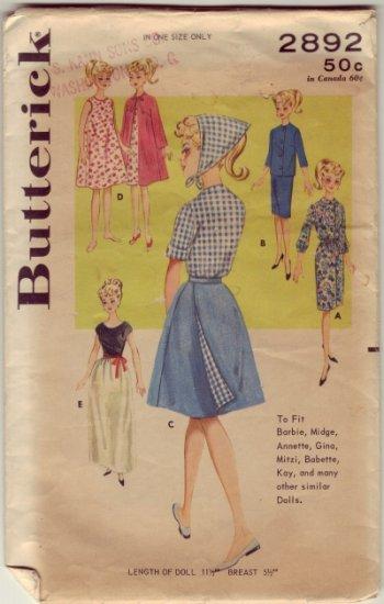Butterick #2892 Barbie Wardrobe Pattern