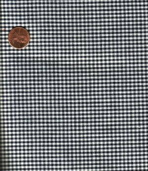 """Vintage 100% Cotton Black & White Gingham Check Fabric 6 yds x 36"""" Wide"""