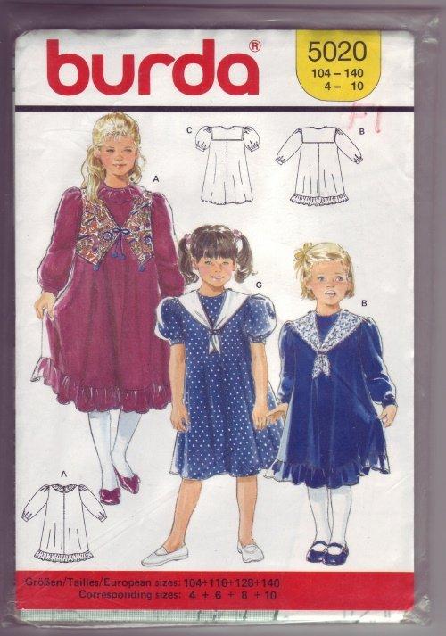 Burda #5020 Girls Dress Pattern Sz 4 - 6 - 8