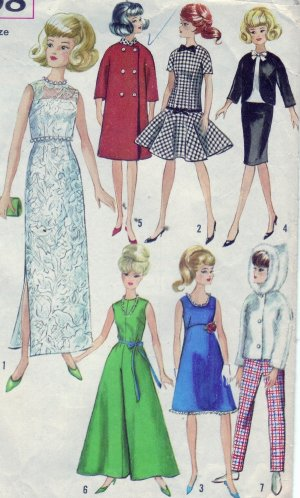 Simplicity #6208 Barbie Doll Wardrobe Pattern from 1965