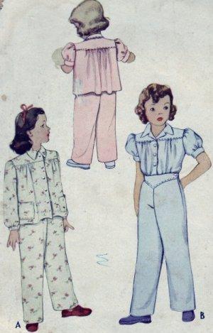McCall #5156 Little Girl's Sz 2 Pajamas Pattern c. 1943