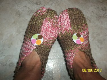 Women's Pink/Brown Knitted Slippers