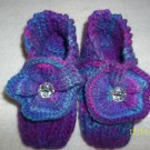 "Girl's Knitted Slippers-""Purple Dazzle"""