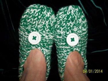 Women's Green/White Hand Knitted Slippers