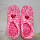 Women's Pink/White Valentine Handknitted Slippers With Hearts