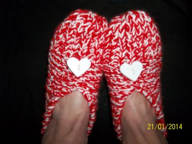 Women's Red/White Valentine Knitted Slippers