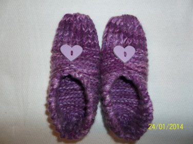 Women's Purple Heart Knitted Slippers